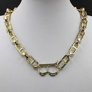 Жіноче кольє BVLGARI колір золото масивні ланцюжок 55 см з кулонам у вигляді літери B
