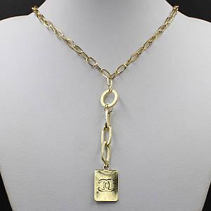 Жіноче кольє CHANEL колір золото масивні ланцюжок 55 см з кулонам на ланцюгу