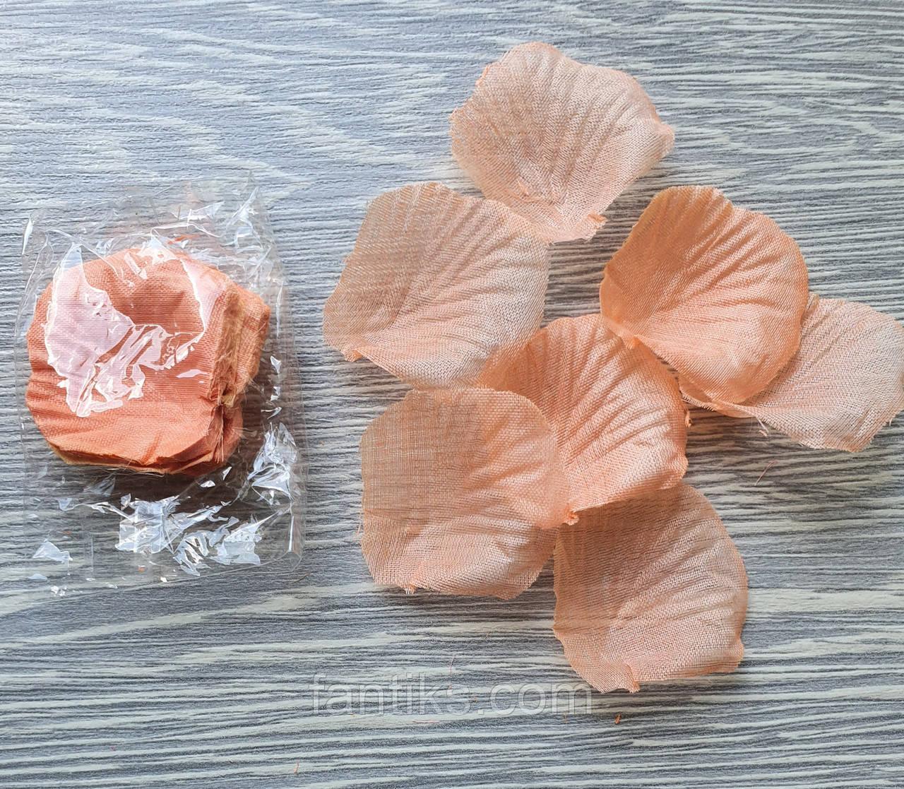 Лепестки роз искусственные нежно оранжево-персиковые