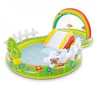 Надувной детский бассейн Intex 57154 Мой сад с надувными игрушками фонтаном и горкой 290х180х104 см