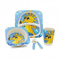 Набір дитячого посуду Stenson MH-2770-18 морський кінь 5 предметів (010865)