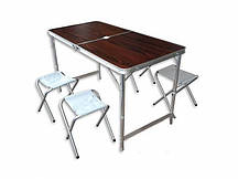 Складаний стіл для пікніка зі стільцями Коричневий (hub_oq3end)