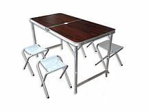 Складной стол для пикника со стульями Коричневый (hub_oq3end)