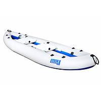 Надувна байдарка двомісна Човен ЛБ-400-2 Чайка стандарт 4 м надувна подушка Сіро-синя (lad_ЛБ-400-2С)