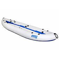 Надувна байдарка двомісна Човен ЛБ-400-2 Чайка базова 4 м з насосом Сіро-синя (lad_ЛБ-400-2Б)