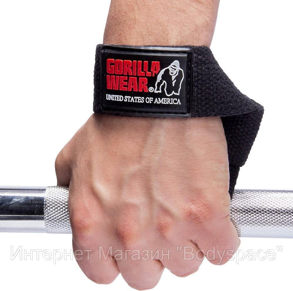 Gorilla Wear, Лямки для тяги на зап'ястя Non-Padded Straps Black, Чорний, One saze
