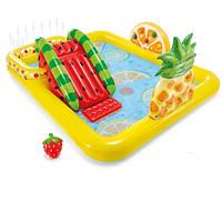 Детский надувной бассейн с горкой игровой центр Intex 57158 Веселые Фрукты Разноцветный (bint_57158)