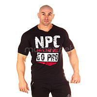 NPC, Футболка для бодібілдингу men's Combed Cotton V-Neck Top, чорна, Чорний, XL