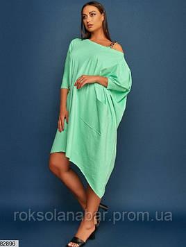 Платье XL свободного кроя ментолового цвета универсального размера 48-54