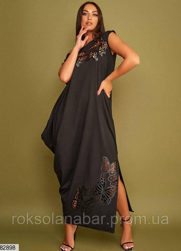 Сукня XL вільного крою чорного кольору з метеликами універсального розміру 48-54