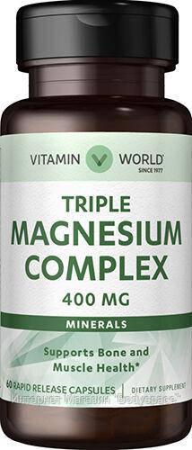 Vitamin World, Микроэлемент Triple Magnesium Complex 400mg, 60 капсул