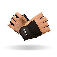 MadMax, Перчатки спортивные Fitness MFG 444. Цвет черный/коричневый, Бежевый, L