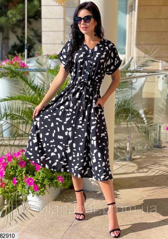 Летнее платье черного цвета с карманами