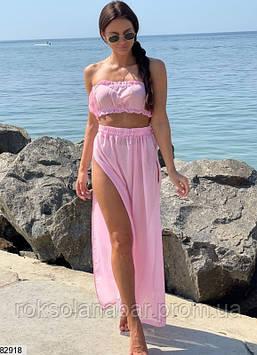 Костюм (топ+юбка) розовый шифоновый