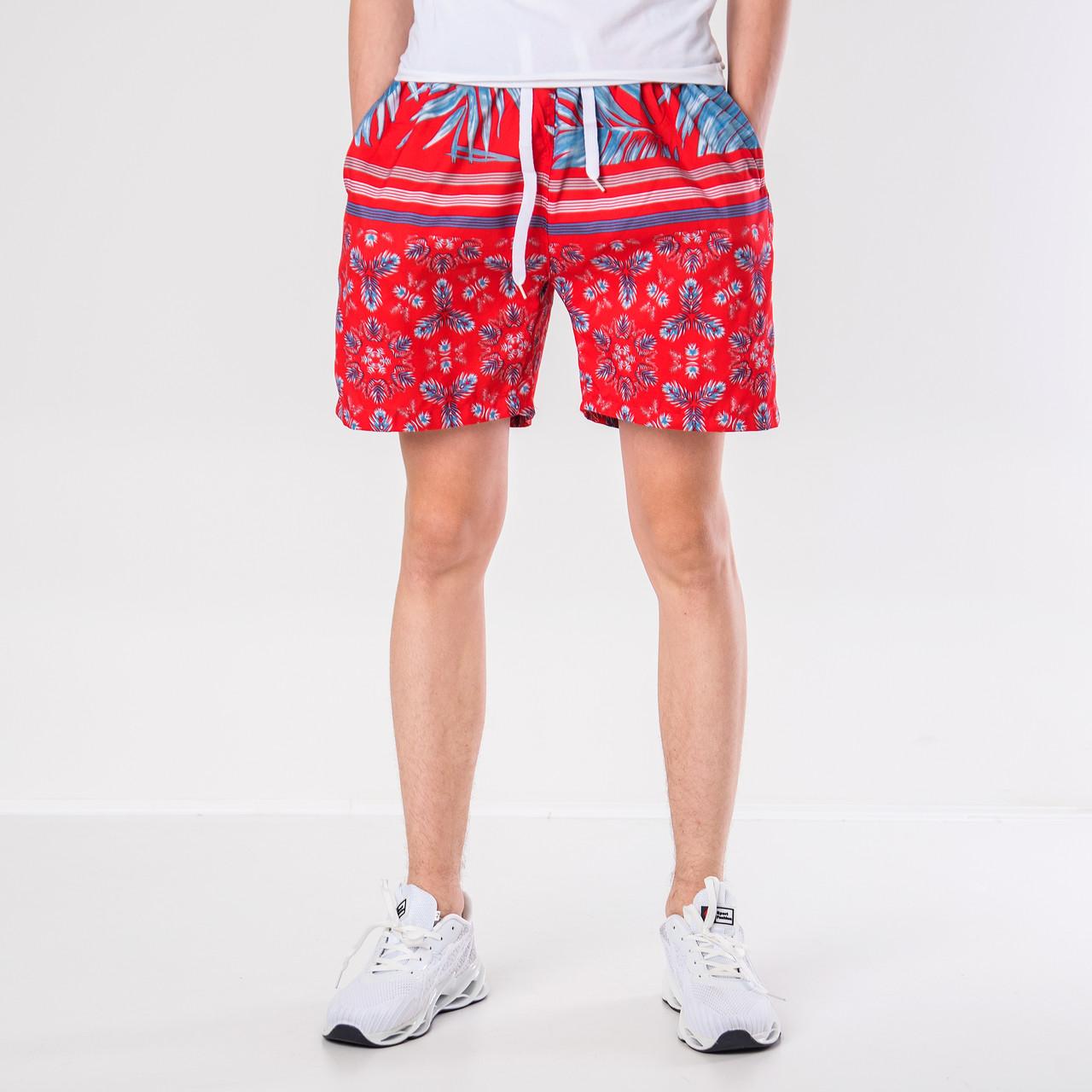 Мужские шорты (плащевка), красного цвета