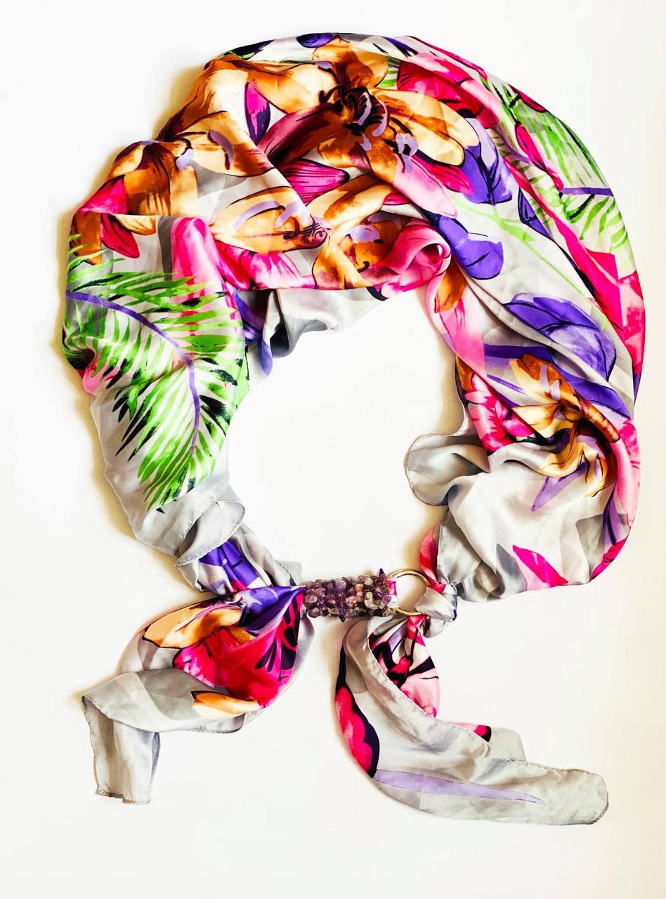 """Шовковий шарф """"тропіканка"""", атласний хустка, шарф-кольє, шарф-чокер, шийна хустка"""