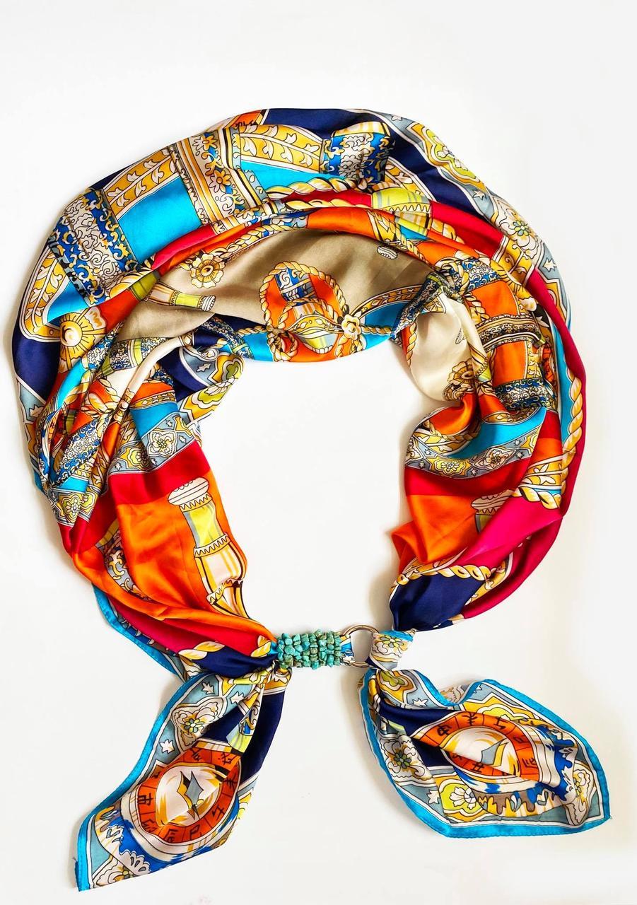 """Шелковый шарф """"итальянские каникулы"""", шарф-колье, шарф-чокер, шейный платок"""