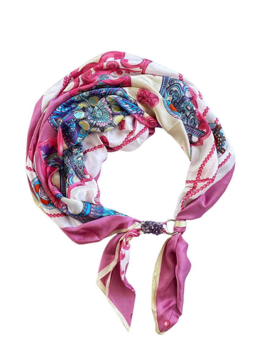 """Шелковый шарф """"Розовая жемчужина"""", шарф-колье, шарф-чокер, шейный платок"""