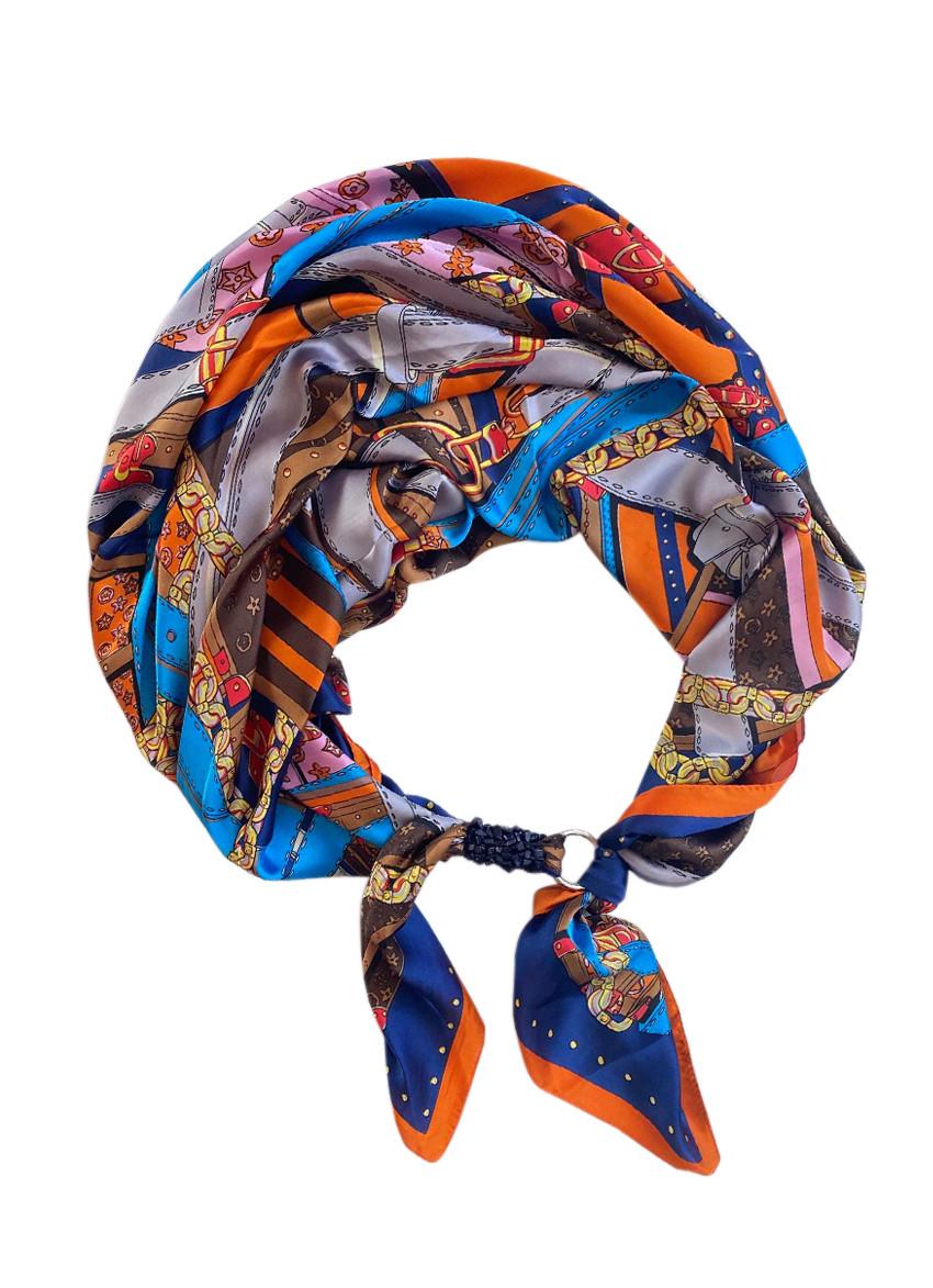 """Шелковый шарф """"золото египта"""", атласный платок, шарф-колье, шарф-чокер, шейный платок"""