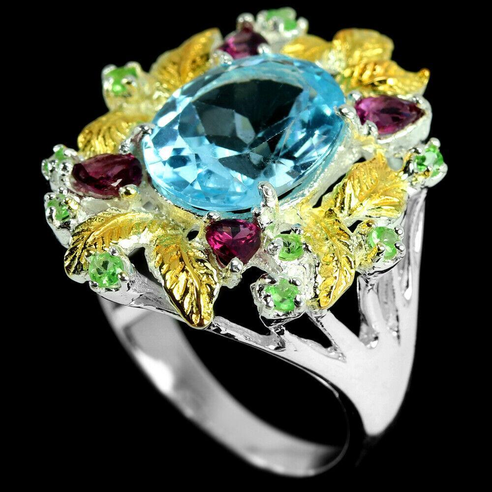 Топаз голубой серебряное кольцо, 1797КТ