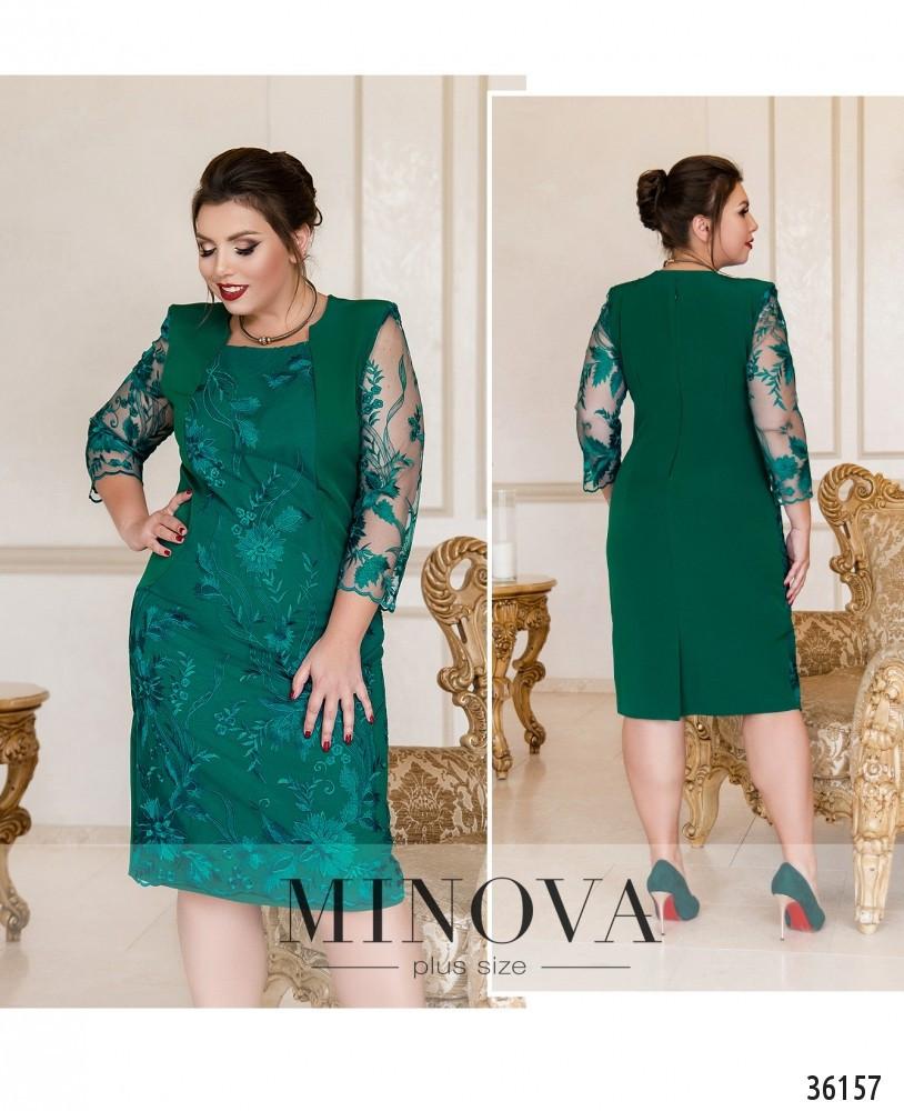 Нарядное вечернее зеленое женское платье большого размера. Размеры 54, 56, 58, 60, 62, 64