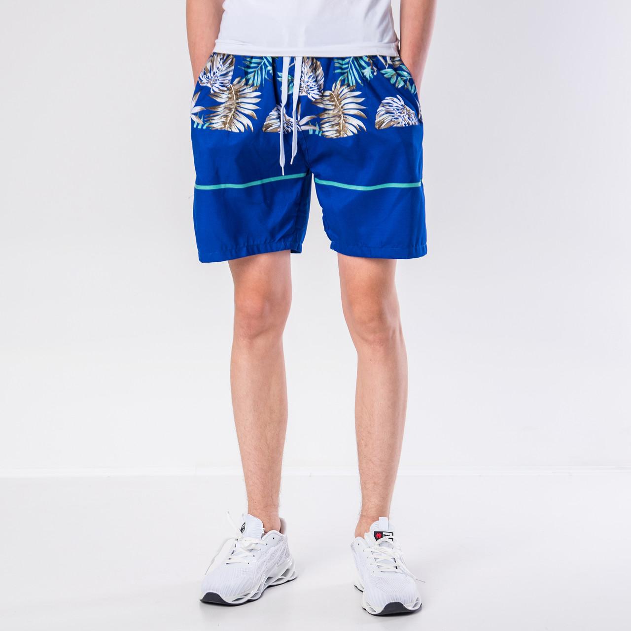 Мужские шорты (плащевка), синего цвета