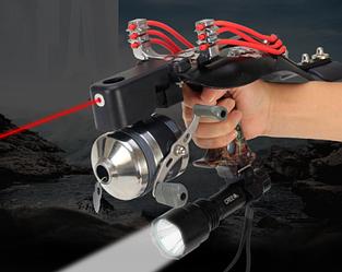 Рогатка професійна для боуфишинга з ліхтариком + інфрачервоний приціл + захист руки