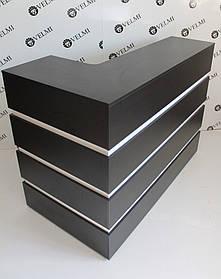 Стойка администратора Domino угловая ДСП Swisspan черный вставки белые (Velmi TM)