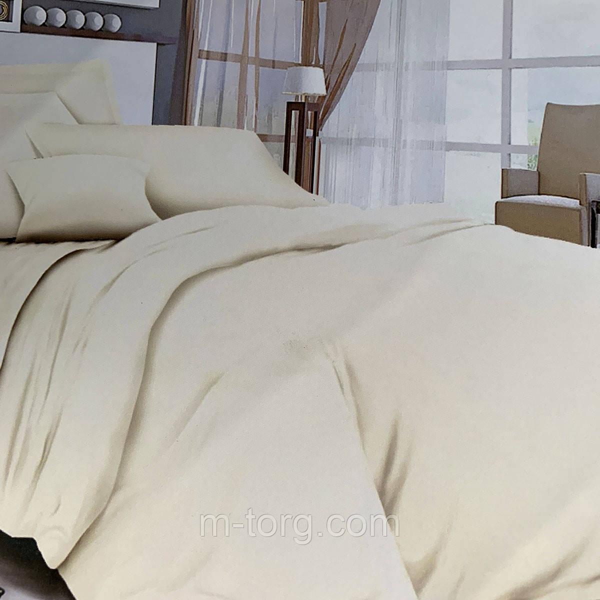"""""""молочное однотонное"""" Комплект постельного белья полуторный 150/210 см, нав-ки 70/70, ткань сатин"""