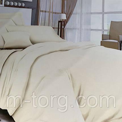 """""""молочное однотонное"""" Комплект постельного белья полуторный 150/210 см, нав-ки 70/70, ткань сатин, фото 2"""