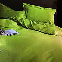 """""""оливковое однотонное"""" Комплект постельного белья полуторный 150/210 см, нав-ки 70/70, ткань сатин"""
