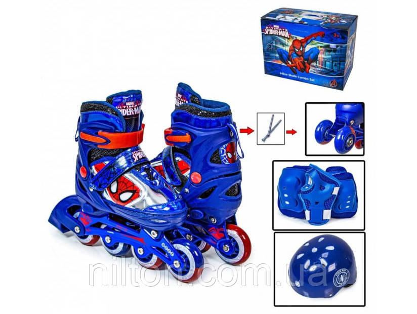 Комплект детский ролики+защита+шлем Disney, размер 35-38, Marvel Spider Man Синий