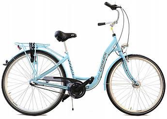 Велосипед женский городской Cossack 28 Nexus-3 алюминиевый sky blue с корзиной Польша
