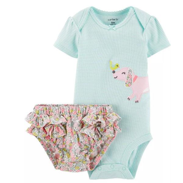 Набір футболка і шорти трусики для дівчинки Carters весняна собачка