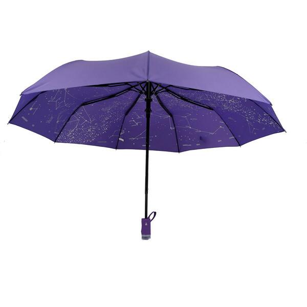 Жіночий напівавтомат зонт з внутрішнім малюнком Зоряне небо складаний Фіолетовий Lantana (711-7)
