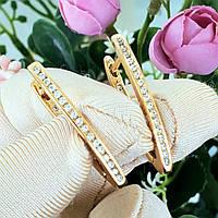 Сережки Xuping довжина 3см медичне золото позолота 18К стріла с679