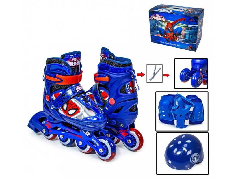 Комплект дитячий ролики+захист+шолом Disney, розмір 35-38, Marvel Spider Man Синій