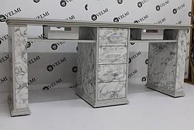 Стол маникюрный Bridge для двух мастеров ДСП Swisspan вытяжка Air Max MV150 (Velmi TM)