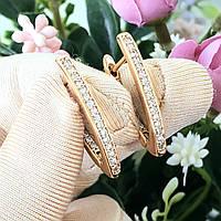 Серьги Xuping длина 2.5см медицинское золото позолота 18К стрела с862, фото 1