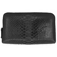 Универсальный клатч (портмоне/кошелек) из натуральной кожи питона, цвет черный
