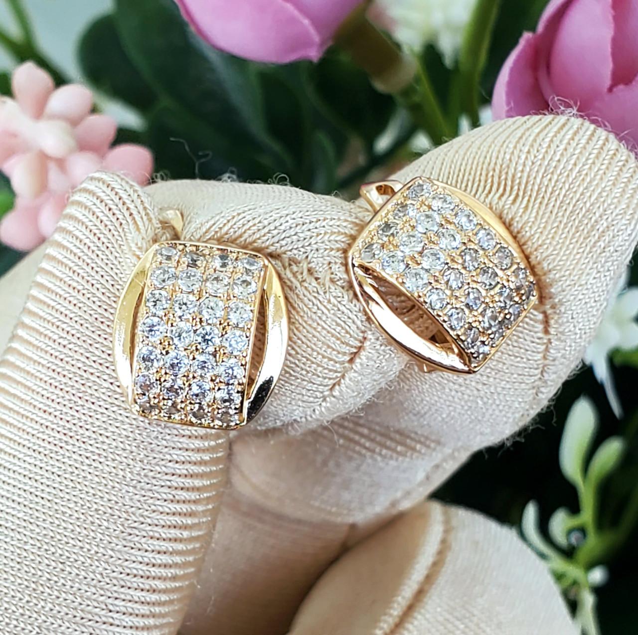 Сережки Xuping довжина 1.3см медичне золото позолота 18К с610