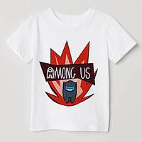 """Дитяча футболка з накаткою гри """"Амонг Ас"""". Білий колір. (Роздріб)."""