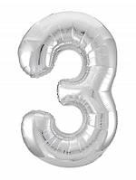 Цифра 3 Slim  Agura срібло