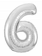 Цифра 6 Slim  Agura срібло