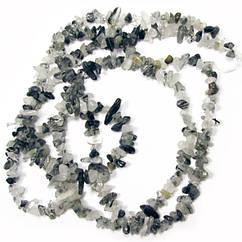 Відколи Кварц Волосиста Дрібний, Розмір 4-9*3-5 мм, Близько 85 см нитка, Намистини Натуральний Камінь, Рукоділ