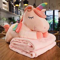 Плюшева іграшка-подушка єдиноріг різнобарвний з пледом всередині 3 в 1 krd0172