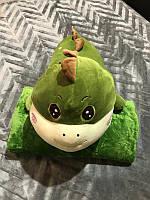 Плюшева іграшка-подушка зелений динозавр з пледом всередині 3 в 1 kmy0175