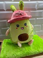 Плюшева іграшка-подушка авокадо з пледом всередині 3 в 1 krd0177