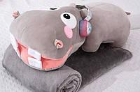 Плюшева іграшка-подушка бегемот з пледом всередині 3 в 1 krd0178