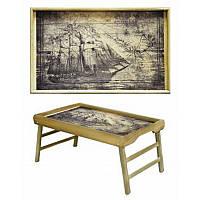 Столик для завтрака в постель из натурального дерева Корабль